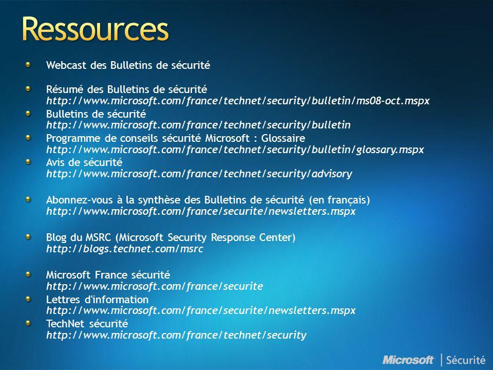 Ressources Webcast des Bulletins de sécurité