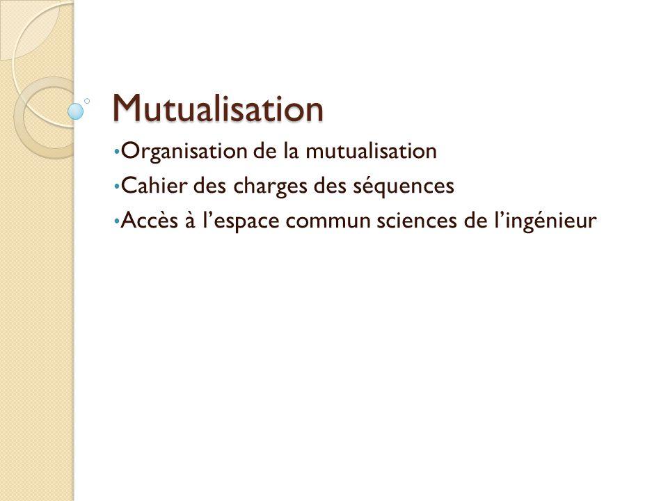 Mutualisation Organisation de la mutualisation