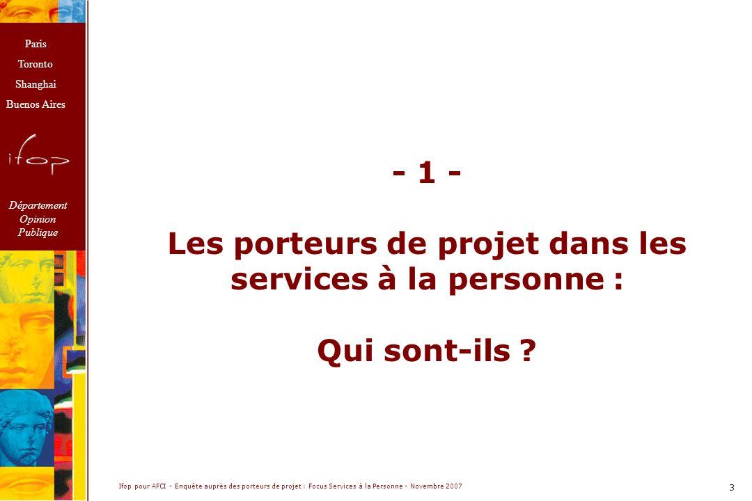 Les porteurs de projet dans les services à la personne :