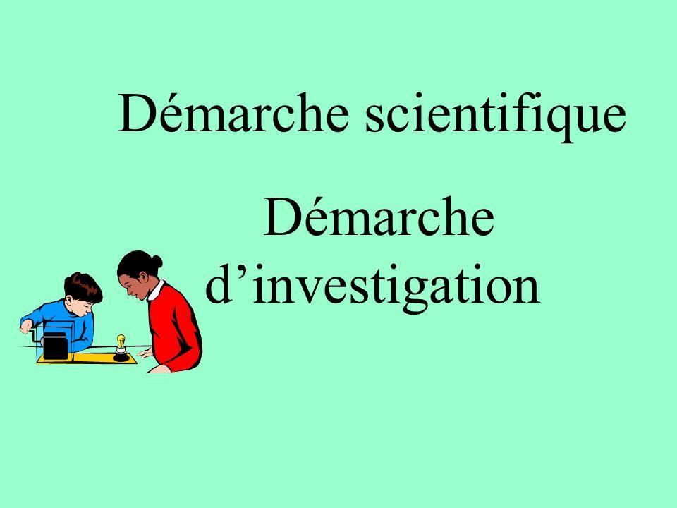 Démarche scientifique Démarche d'investigation