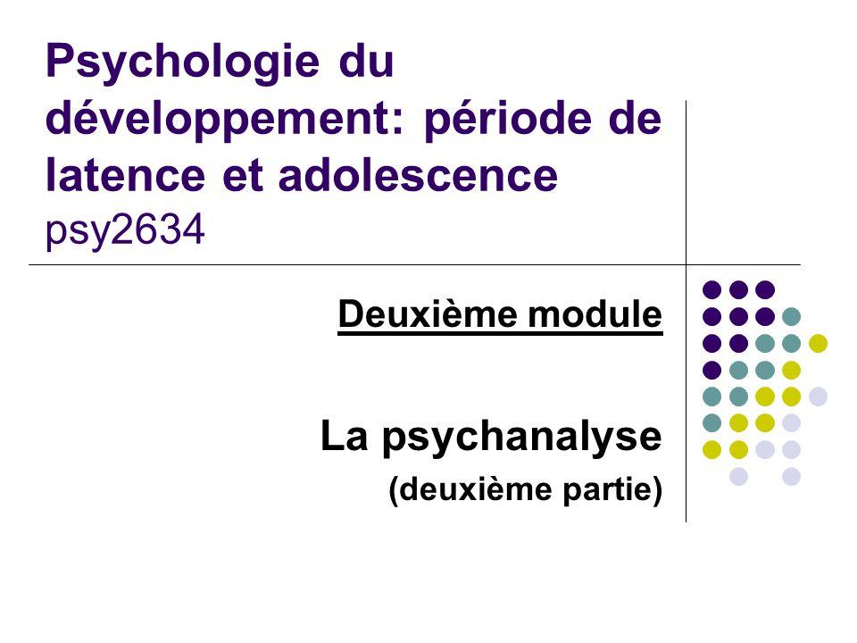 Deuxième module La psychanalyse (deuxième partie)