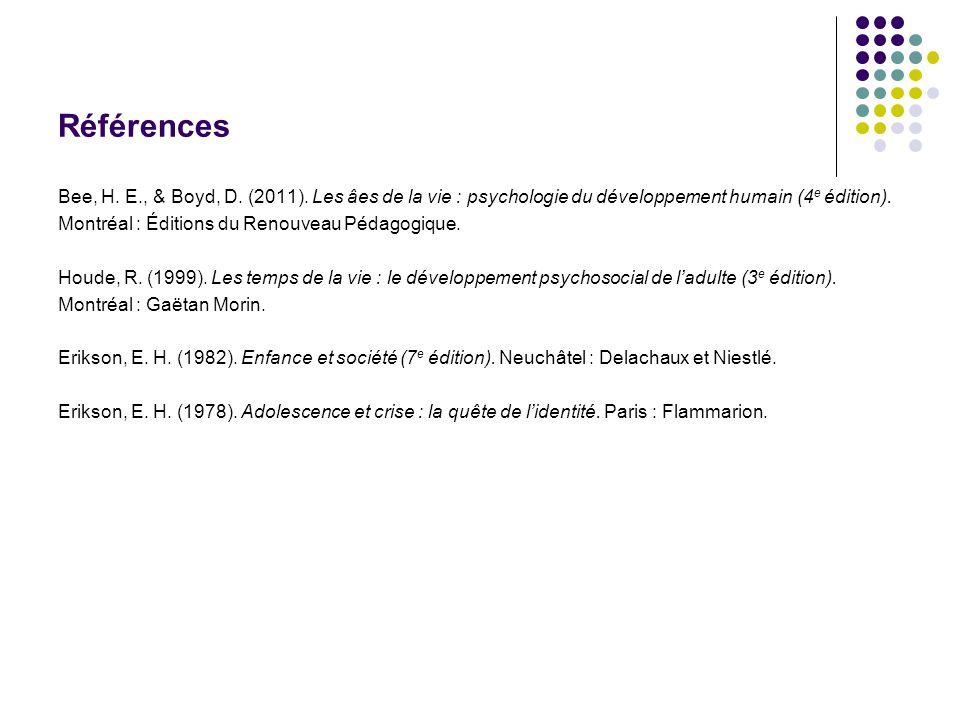 Références Bee, H. E., & Boyd, D. (2011). Les âes de la vie : psychologie du développement humain (4e édition).