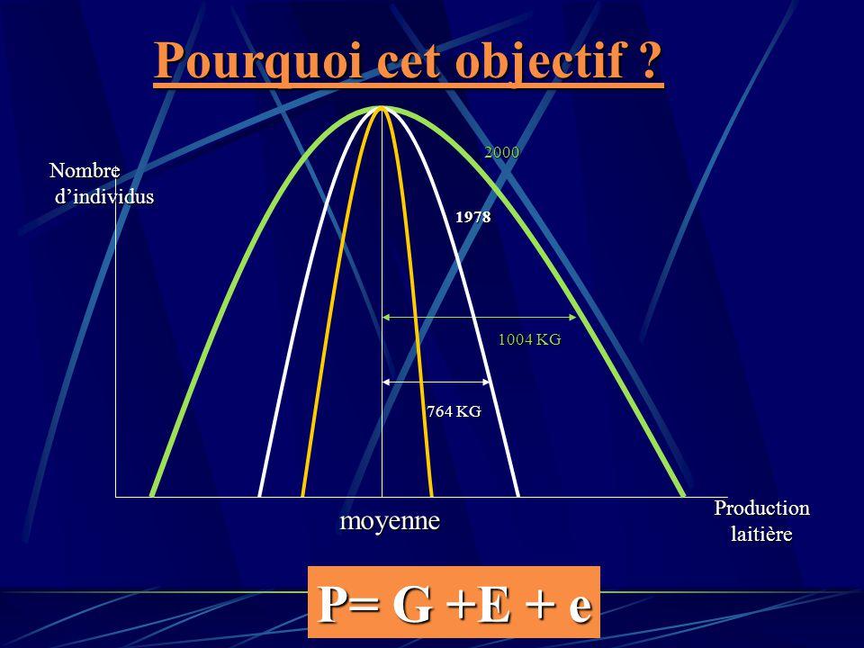 Pourquoi cet objectif P= G +E + e moyenne Nombre d'individus