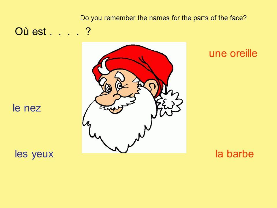 Où est . . . . une oreille le nez les yeux la barbe