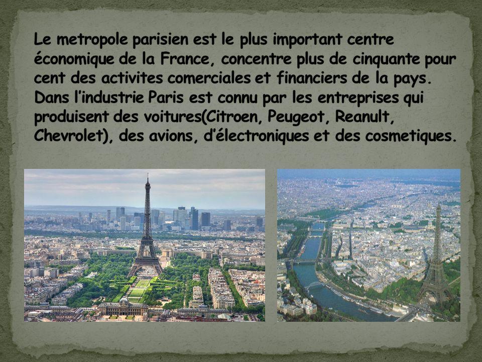 Le metropole parisien est le plus important centre économique de la France, concentre plus de cinquante pour cent des activites comerciales et financiers de la pays.