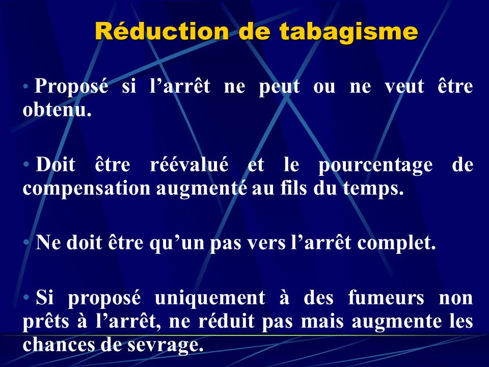 Réduction de tabagisme