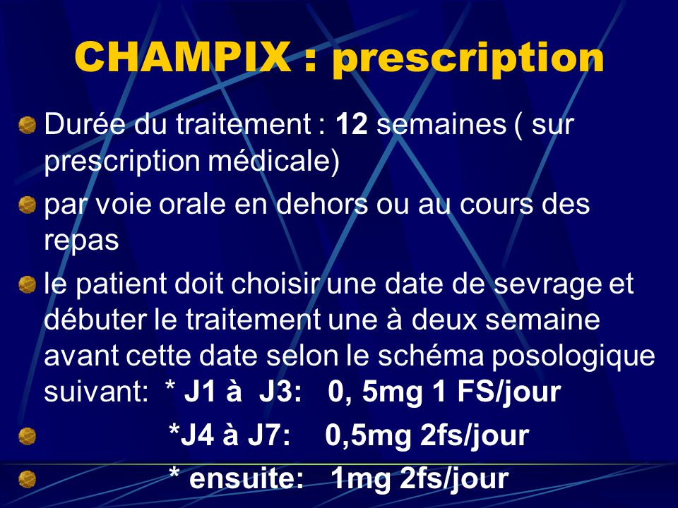 CHAMPIX : prescription