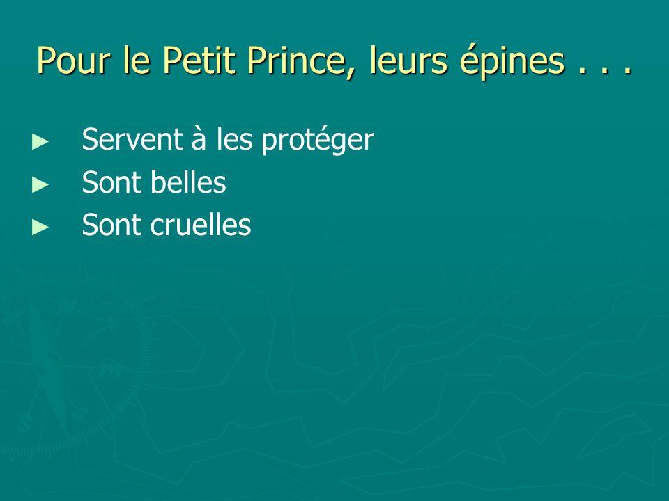 Pour le Petit Prince, leurs épines . . .