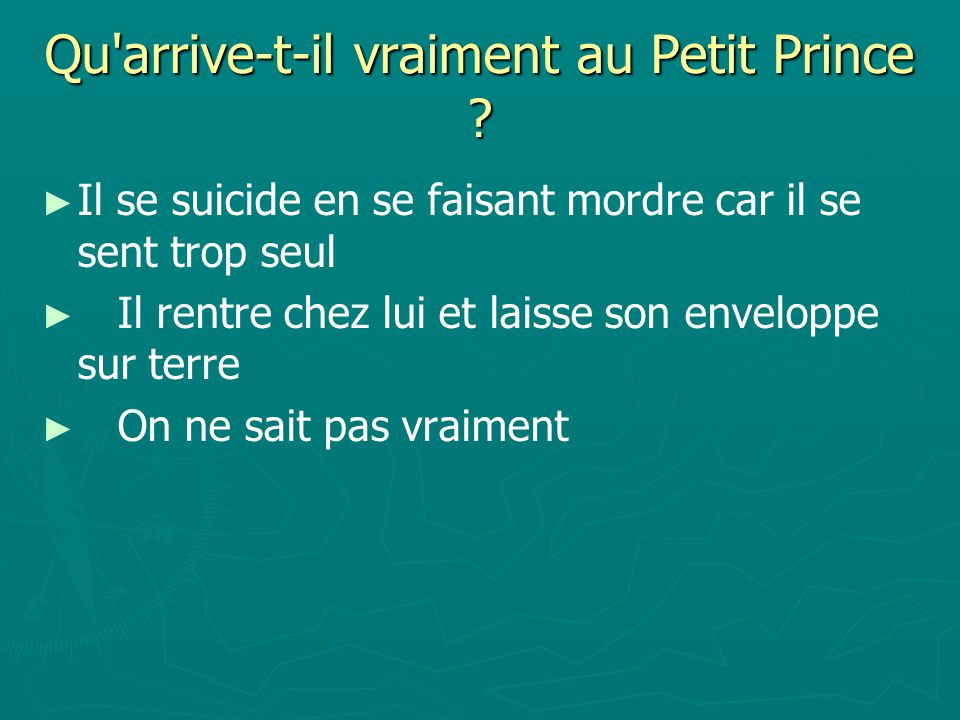 Qu arrive-t-il vraiment au Petit Prince