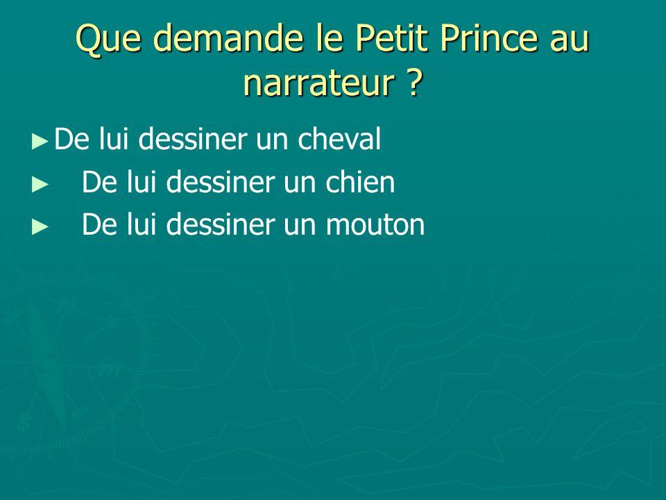Que demande le Petit Prince au narrateur