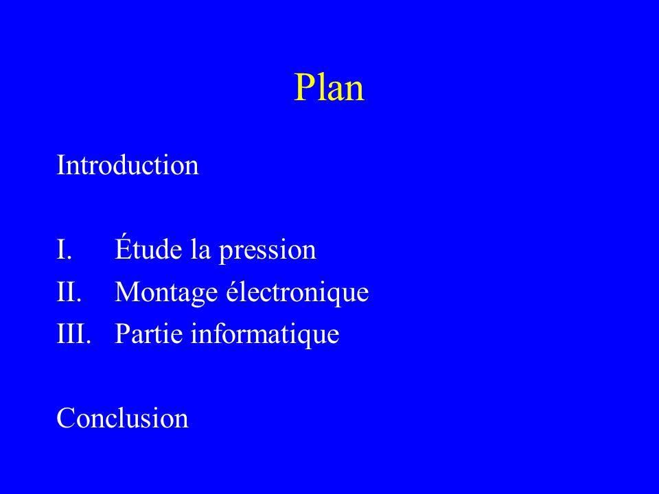 Plan Introduction Étude la pression Montage électronique
