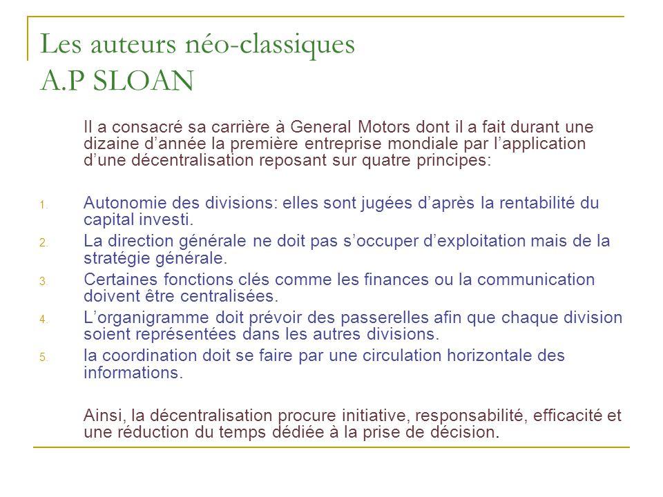 Les auteurs néo-classiques A.P SLOAN