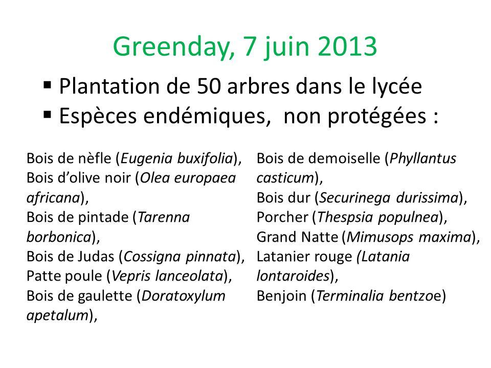 Greenday, 7 juin 2013 Plantation de 50 arbres dans le lycée