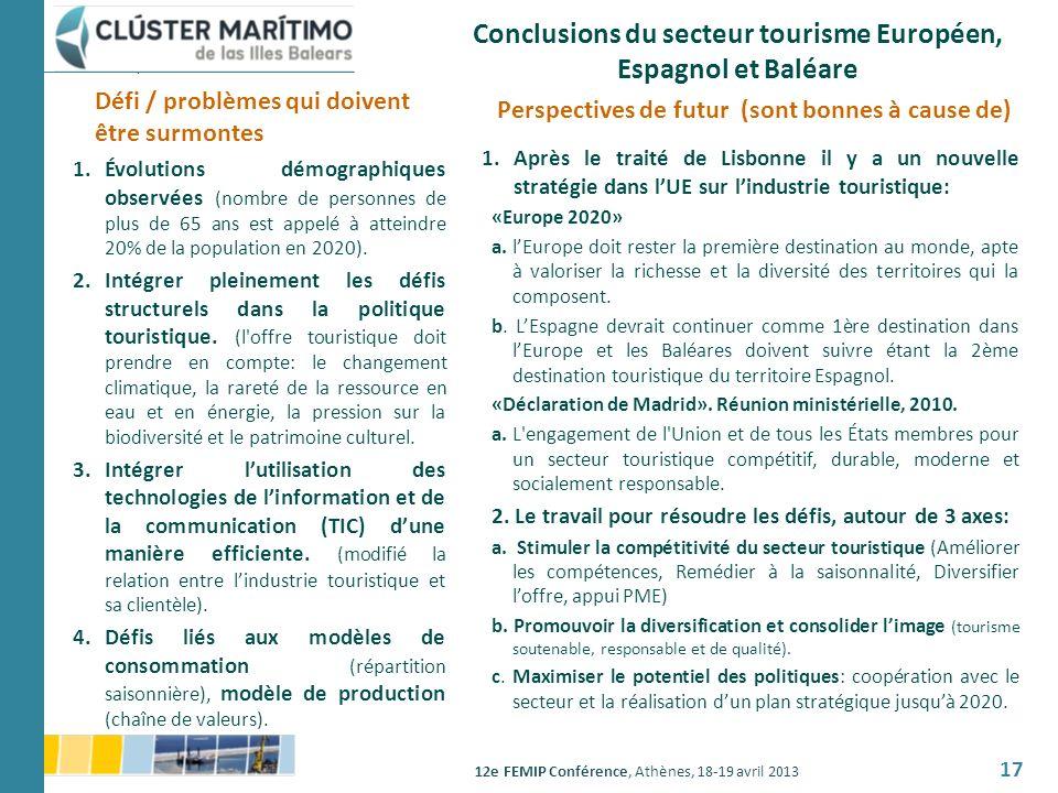 Conclusions du secteur tourisme Européen, Espagnol et Baléare