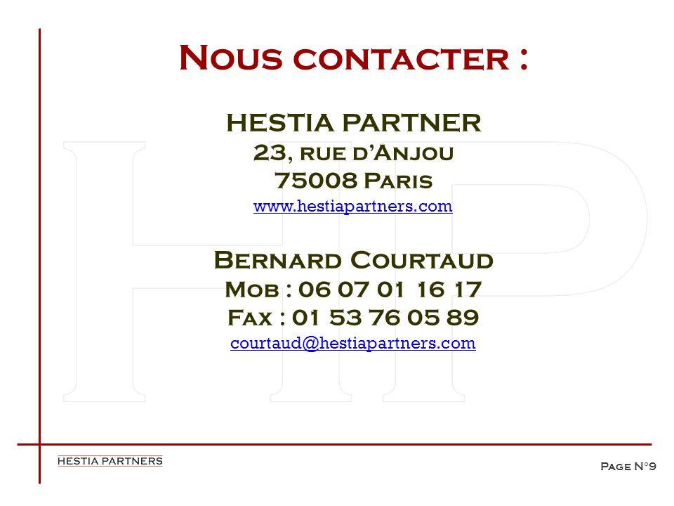 Nous contacter : HESTIA PARTNER Bernard Courtaud 23, rue d'Anjou