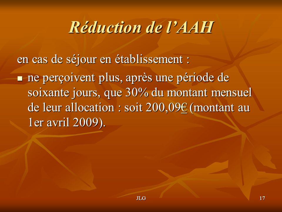 Réduction de l'AAH en cas de séjour en établissement :