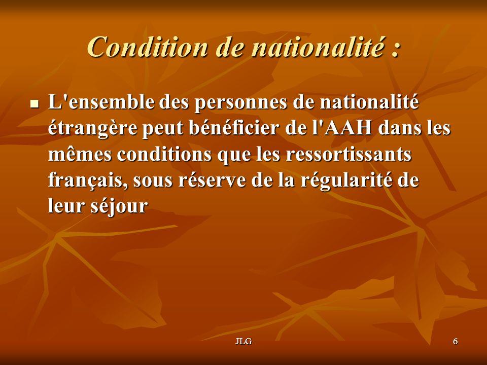 Condition de nationalité :