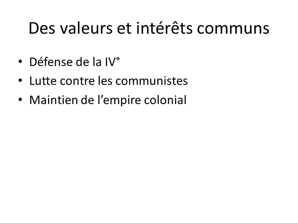 Des valeurs et intérêts communs