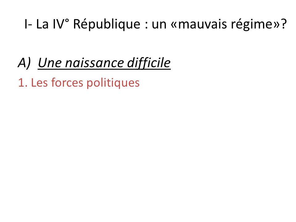 I- La IV° République : un «mauvais régime»