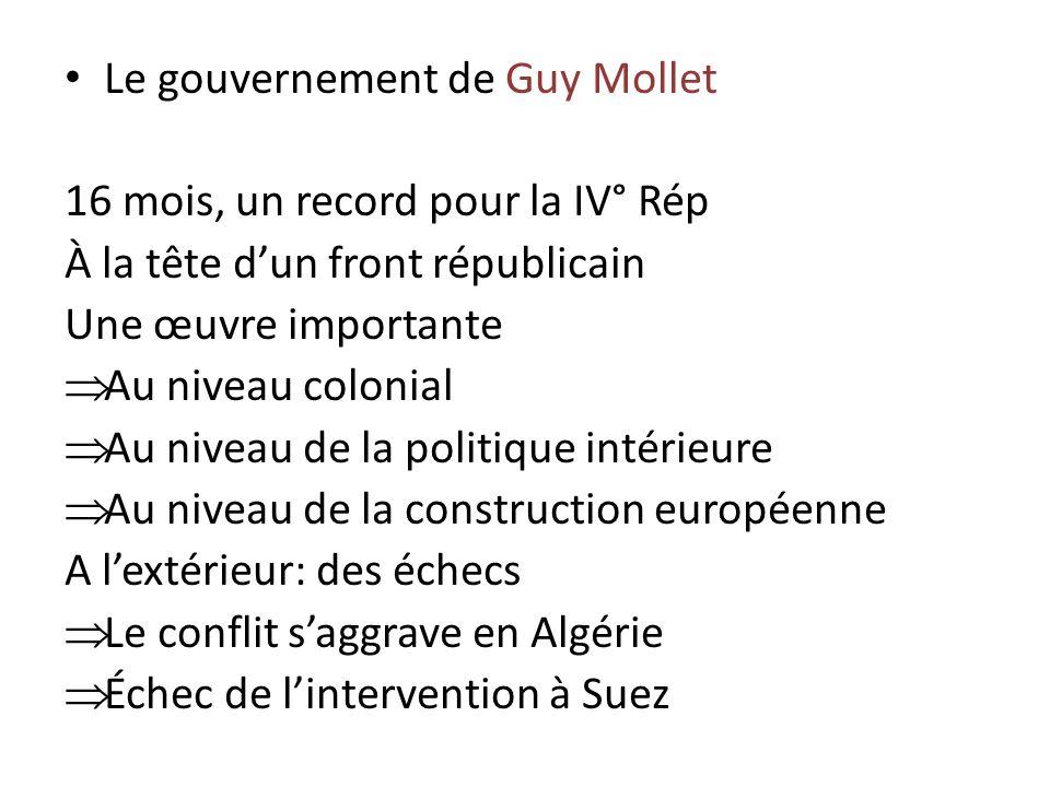 Le gouvernement de Guy Mollet