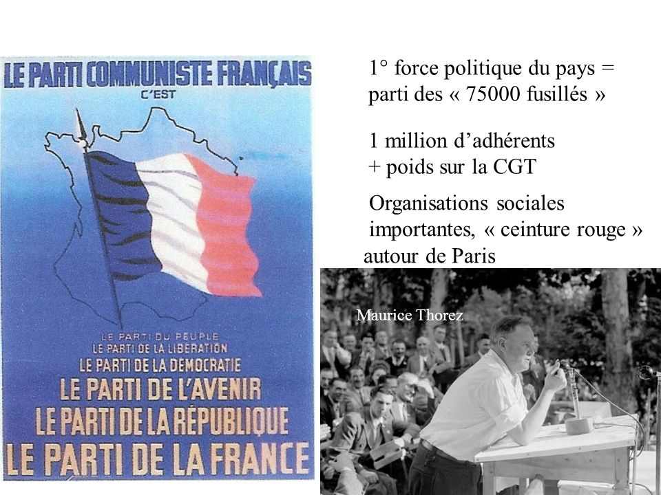 1° force politique du pays = parti des « 75000 fusillés »