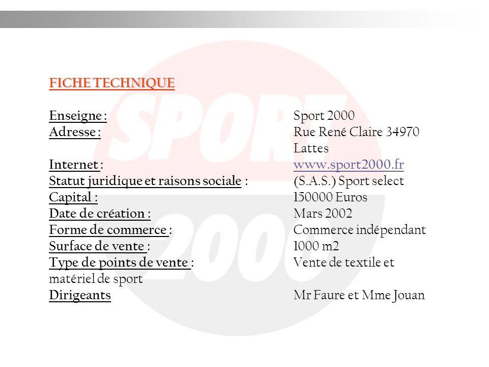 FICHE TECHNIQUE Enseigne : Sport 2000. Adresse : Rue René Claire 34970 Lattes. Internet : www.sport2000.fr.