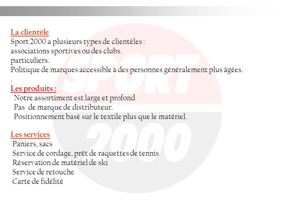 La clientèle Sport 2000 a plusieurs types de clientèles : associations sportives ou des clubs. particuliers.