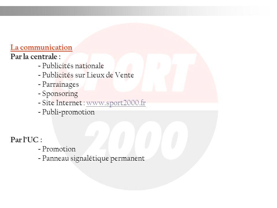 La communication Par la centrale : - Publicités nationale. - Publicités sur Lieux de Vente. - Parrainages.