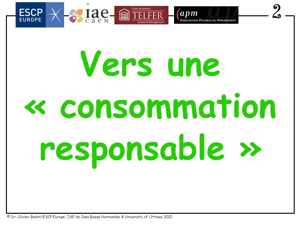 Vers une « consommation responsable »
