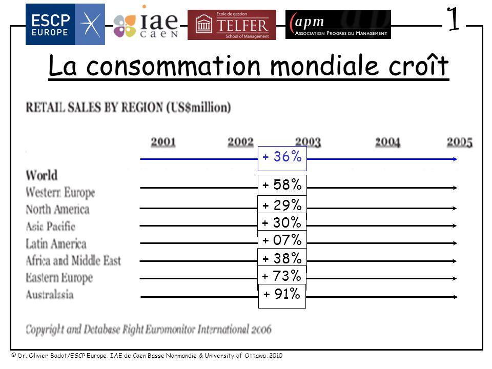 La consommation mondiale croît