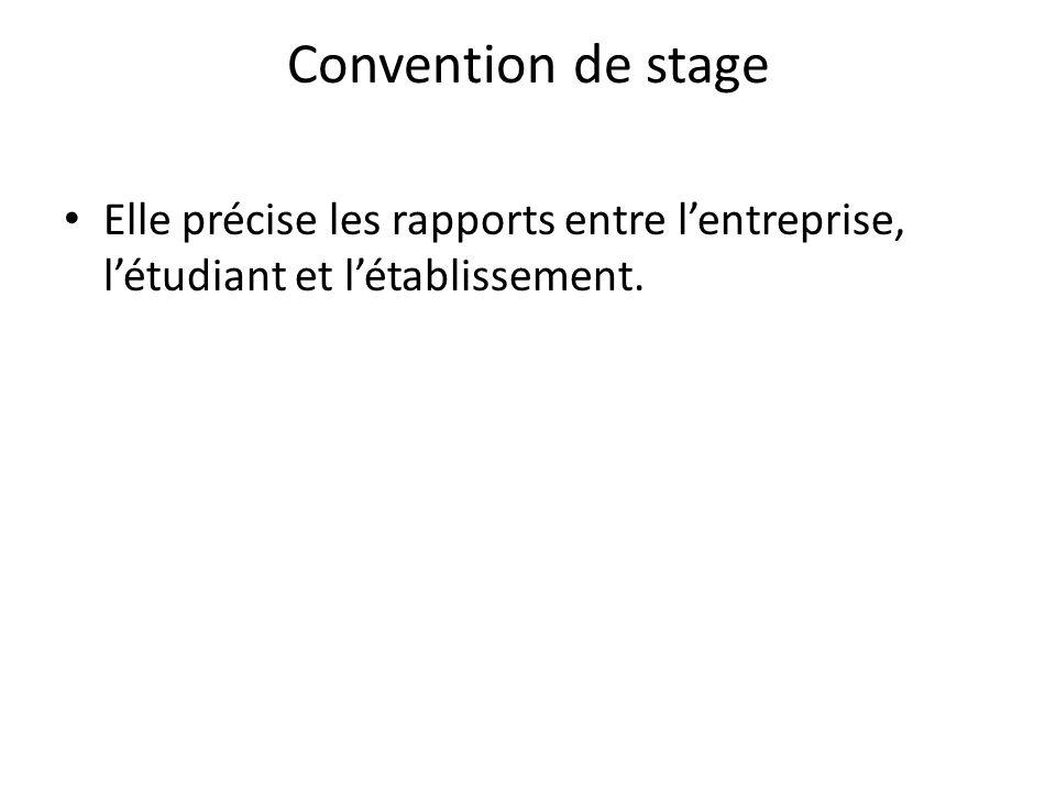 Convention de stage Elle précise les rapports entre l'entreprise, l'étudiant et l'établissement.