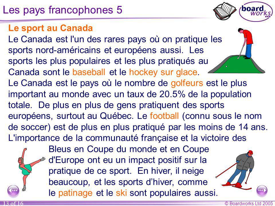 Les pays francophones 5 Le sport au Canada