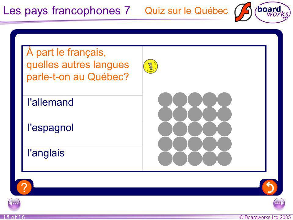 Les pays francophones 7 Quiz sur le Québec
