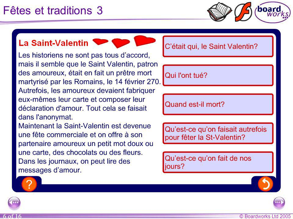 Fêtes et traditions 3 Questions (answers in brackets)