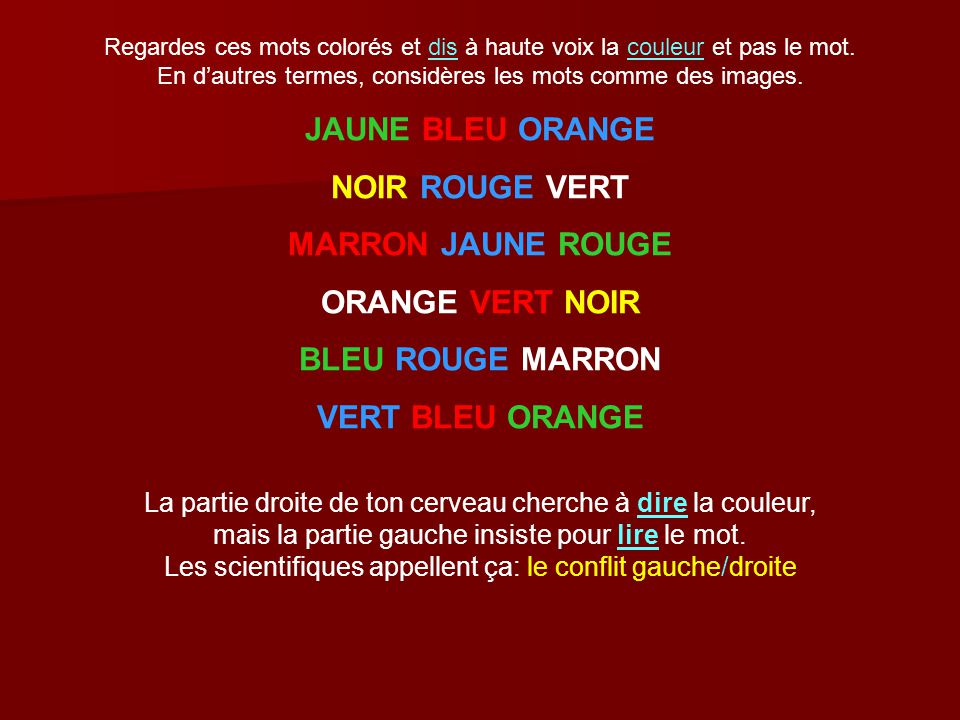 JAUNE BLEU ORANGE NOIR ROUGE VERT MARRON JAUNE ROUGE ORANGE VERT NOIR
