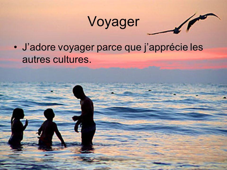 Voyager J'adore voyager parce que j'apprécie les autres cultures.