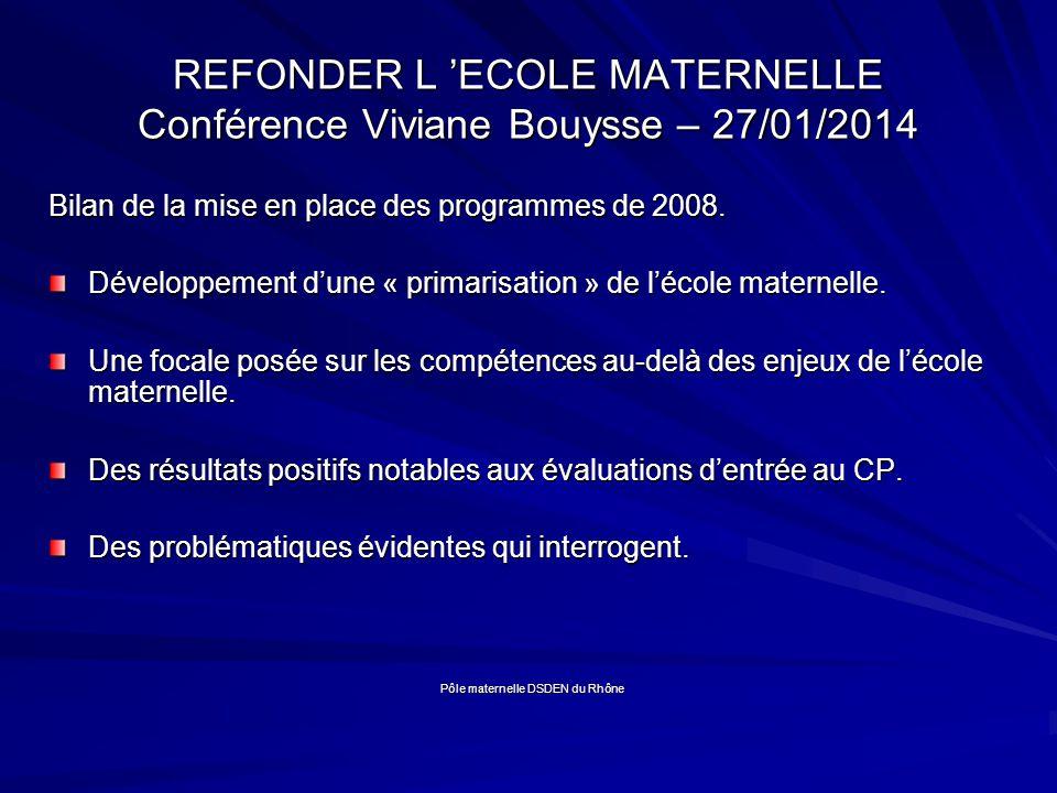 REFONDER L 'ECOLE MATERNELLE Conférence Viviane Bouysse – 27/01/2014