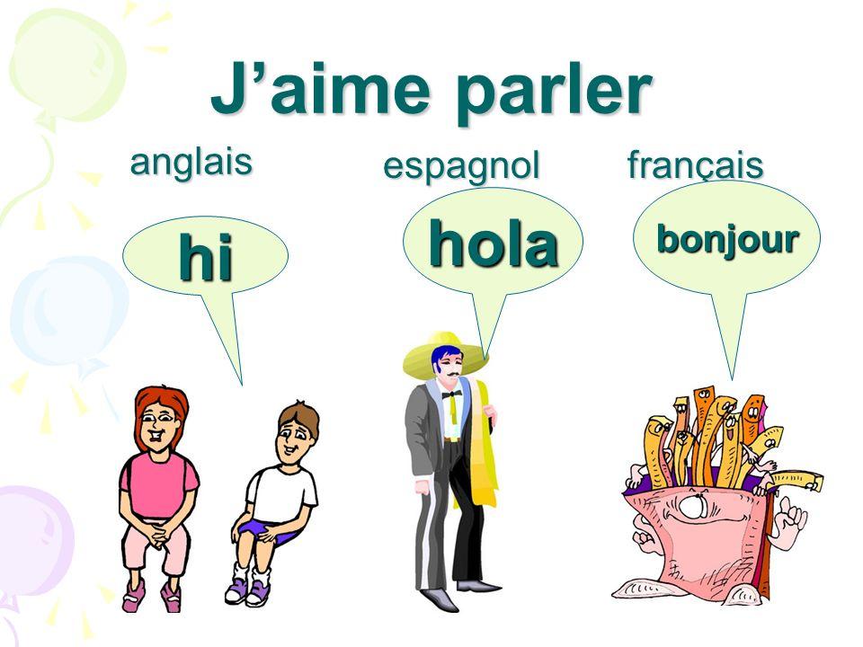 J'aime parler anglais espagnol français bonjour hola hi