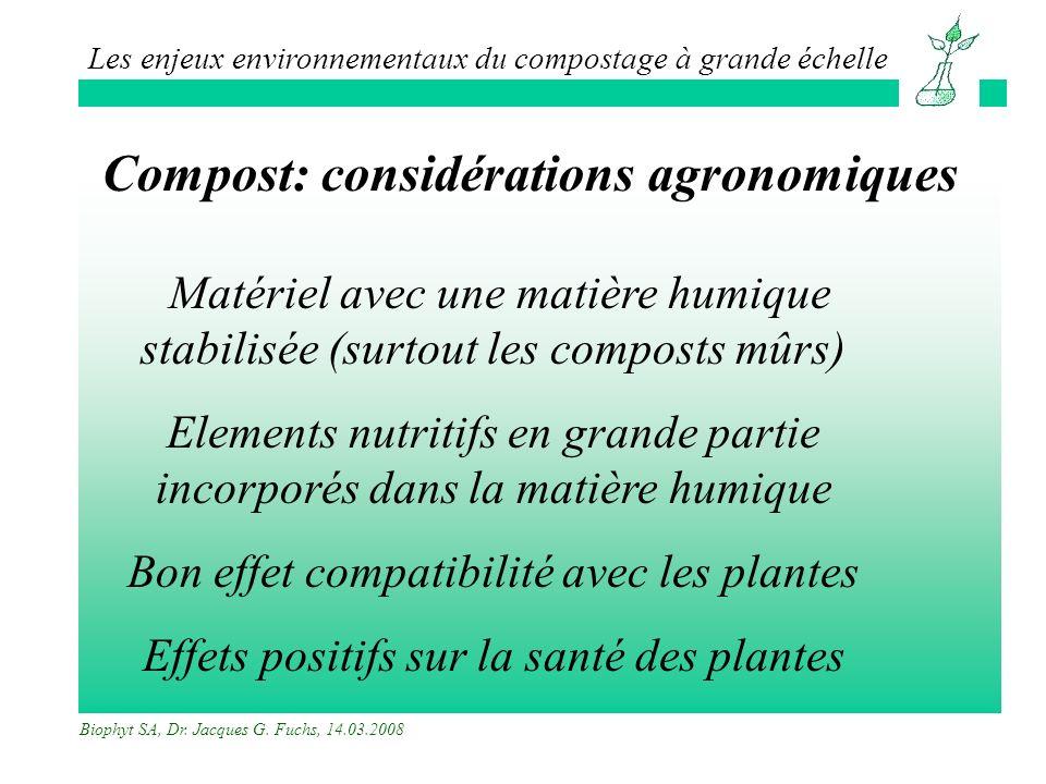 Compost: considérations agronomiques