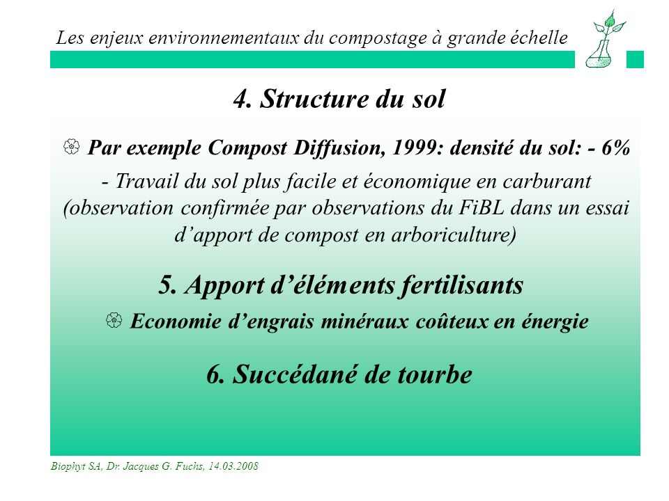 4. Structure du sol 5. Apport d'éléments fertilisants