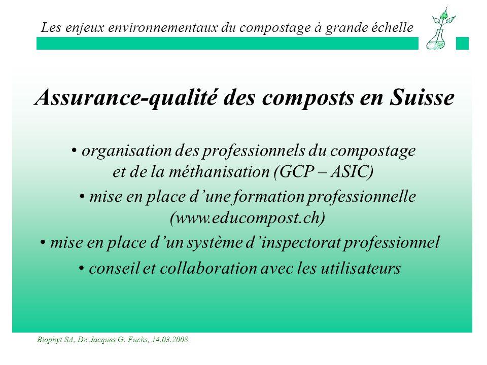 Assurance-qualité des composts en Suisse