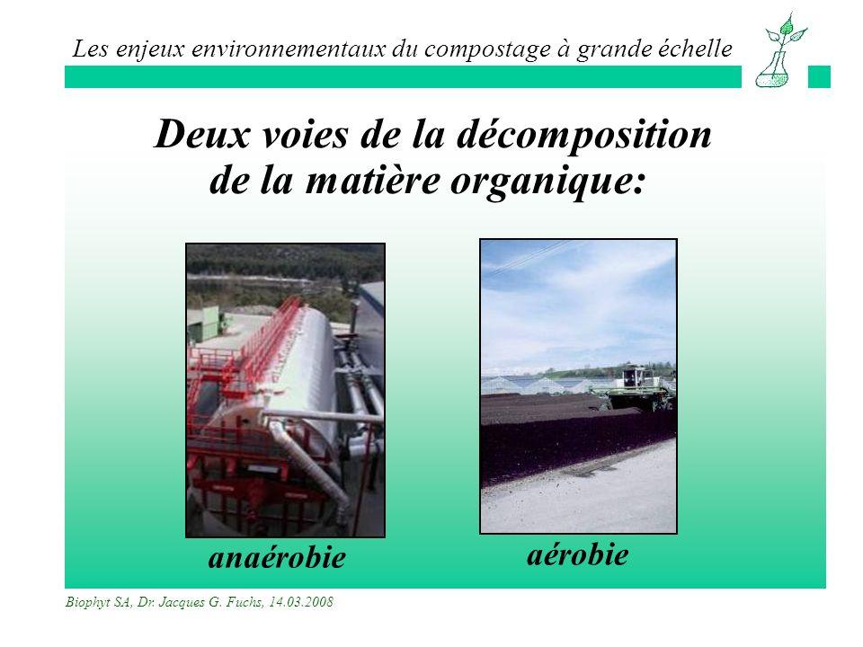 Deux voies de la décomposition de la matière organique: