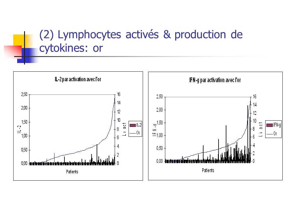 (2) Lymphocytes activés & production de cytokines: or