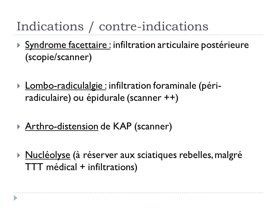 Indications / contre-indications