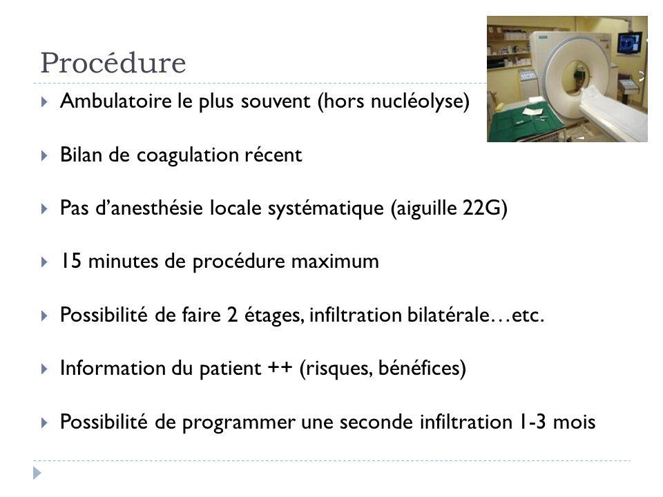 Procédure Ambulatoire le plus souvent (hors nucléolyse)