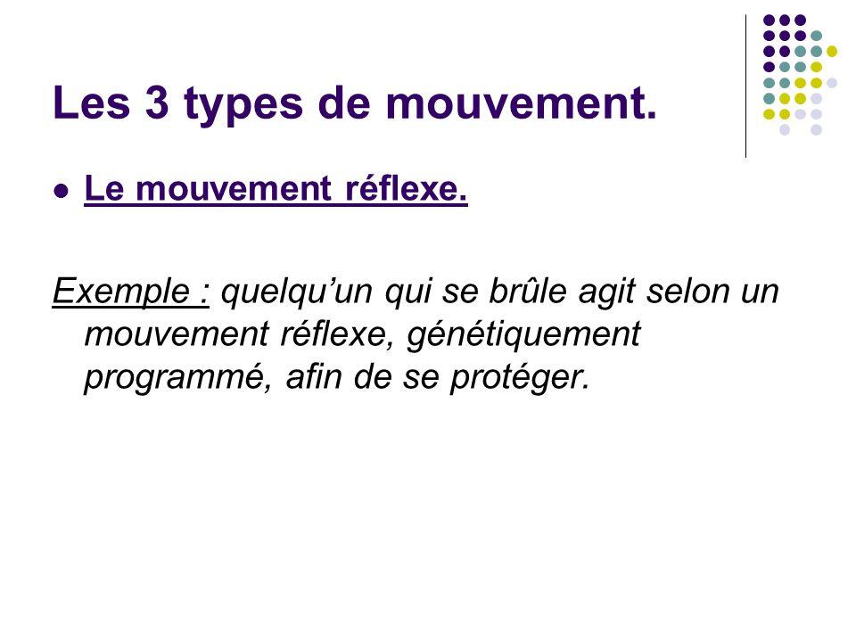Les 3 types de mouvement. Le mouvement réflexe.