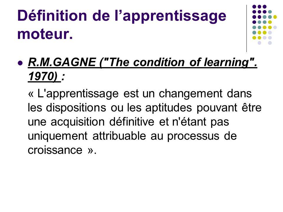 Définition de l'apprentissage moteur.