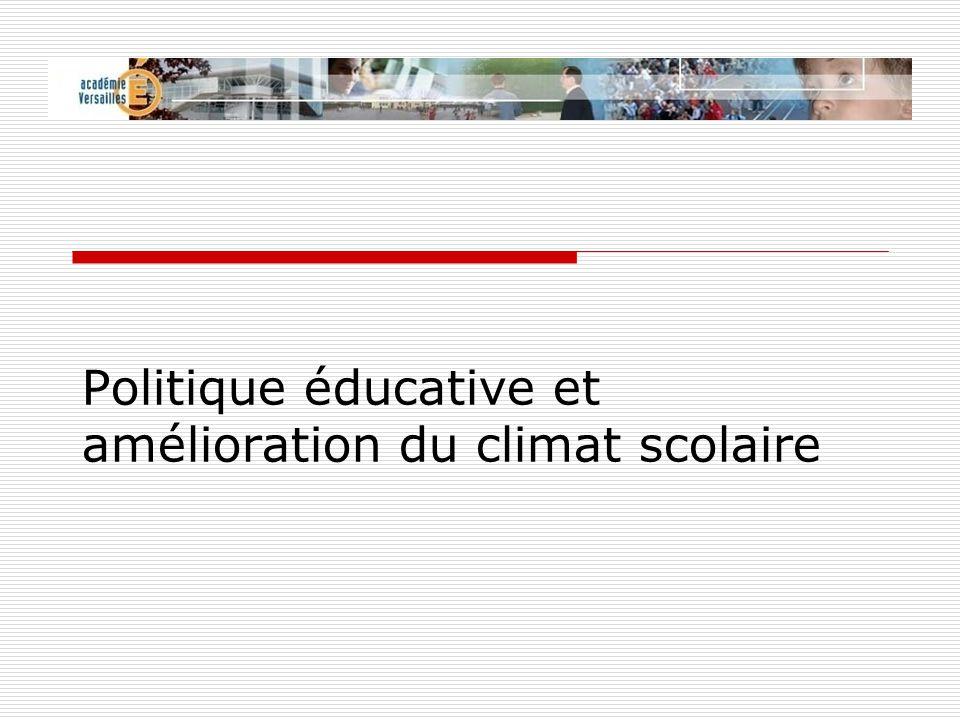 Politique éducative et amélioration du climat scolaire