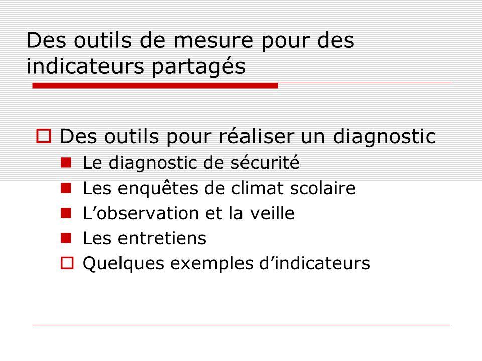 Des outils de mesure pour des indicateurs partagés