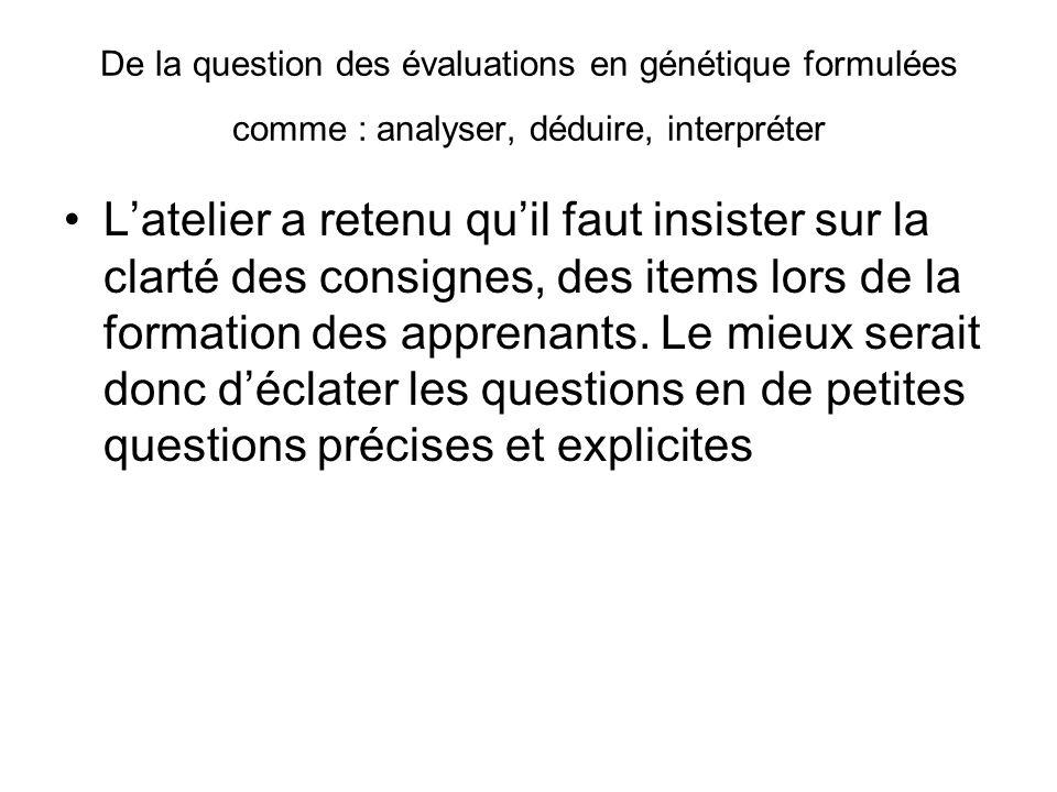 De la question des évaluations en génétique formulées comme : analyser, déduire, interpréter